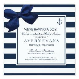 Nautical Navy Ribbon Anchor It's a Boy