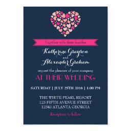 Navy Blue and Pink Love Heart Wedding