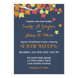 Navy Blue Falling Maple Leaves Wedding