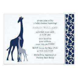Navy Blue Mom and Baby Giraffe Baby Shower