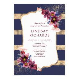 Navy Burgundy and Gold Floral