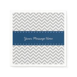 Navy & Grey Chevron  Paper Napkin
