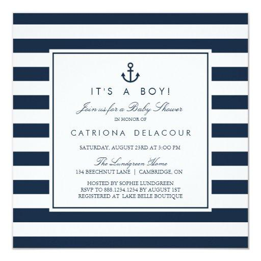 baby shower navy nautical its a boy baby shower invitation