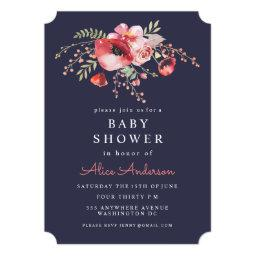 Navy Watercolor Floral Poppies  Invite