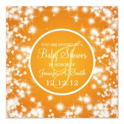 Neutral Baby Shower Elegant Winter Sparkle Orange