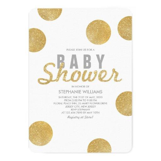 Neutral Faux Gold Glitter White  Invite