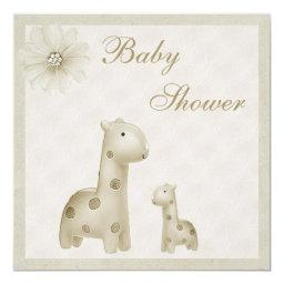 Neutral Mom & Baby Giraffes Vintage Baby Shower