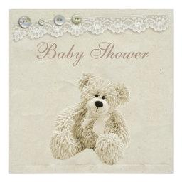 Neutral Teddy Bear Vintage Lace