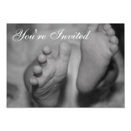 Newborn Feet Black and White Photo