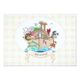 Noah's Ark Animals Ivory Gingham