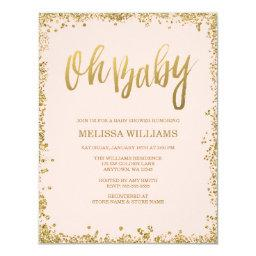Oh Baby Blush Pink Gold Glitter Baby Shower