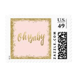 Oh Baby Blush Pink Gold Glitter  Postage