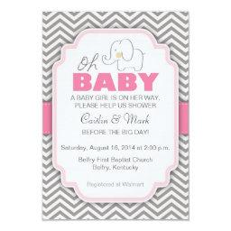 Oh Baby Elephant - Pink & Gray  Invite