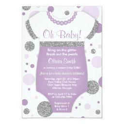 Oh Baby Girl,  Invitation, Faux Glitter