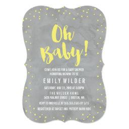Oh Baby Gray and Yellow Watercolor