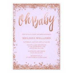 Oh Baby Lilac Faux Rose Gold Glitter