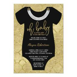 Oh Baby, Little Lady  Invite, Faux Gold