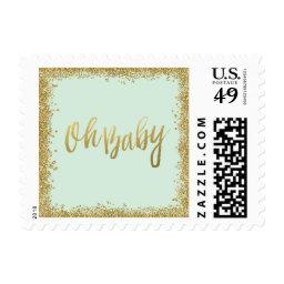 Oh Baby Mint Gold Glitter  Postage