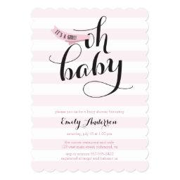 Oh Baby Pink Stripes  Invite