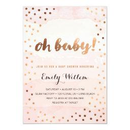 OH BABY! Pink Watercolor & Gold Foil Baby Shower