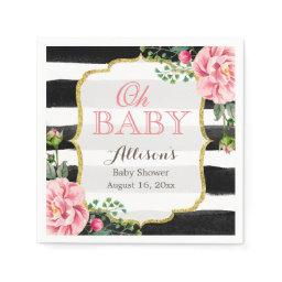 Oh Baby Shower Blush Pink Floral Gold Stripes Napkin