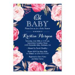 Oh Baby Shower Botanical Floral Wreath Navy Blue