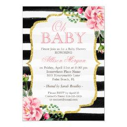 Oh Baby Shower Floral Gold Black White Stripes