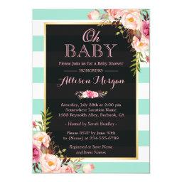 Oh Baby Shower Pink Floral Mint Green Stripes
