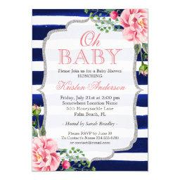 Oh Baby Shower Pink Floral Silver Navy Blue Stripe