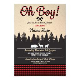 Oh Boy Baby Lumberjack Baby Shower Red Invite