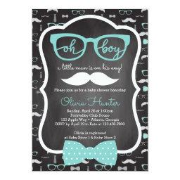 Oh Boy  Invitation, Blue, Gray