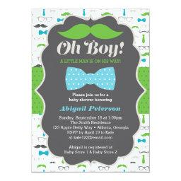 Oh Boy Baby Shower Invitation, Blue, Green