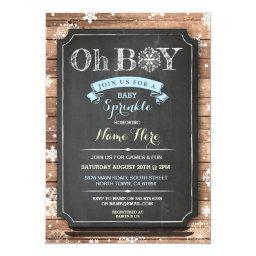 OH BOY  Wood Winter Sprinkle Invite