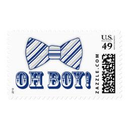 OH BOY! Bow tie Baby Shower navy blue gray Postage