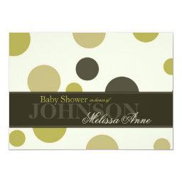 Olive Green Polka Dots  Invitation