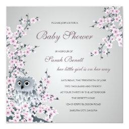 Owl And Cherry Blossoms Baby Shower