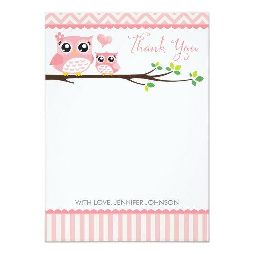 Owl  Thank You  | Pink Chevron Girl