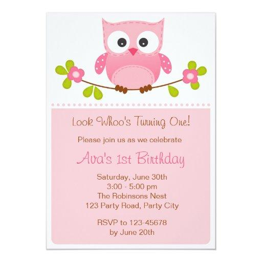 Owl  - Girl 1st Birthday /