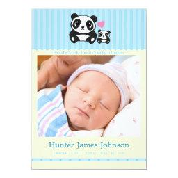 Panda Birth Announcement - Blue & Cream