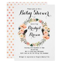 Peach Floral Wreath Baby Shower
