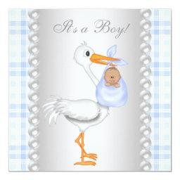 Pearls Blue Gingham Stork Baby Boy Shower