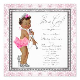 Pearls High Heels Ethnic Little Lady Baby Shower