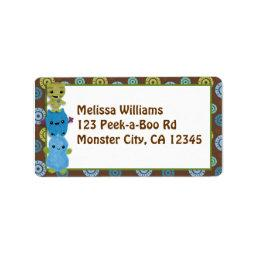 Peek a Boo MONSTERS Address Label PABC envelope