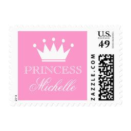 Personalized pink princess  stamps
