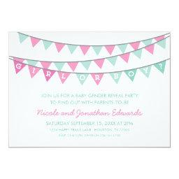 Pink and Aqua Bunting Baby Gender Reveal Party