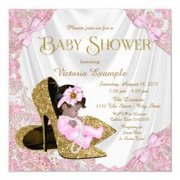 Pink and Gold Glitter Shoe Baby Shower