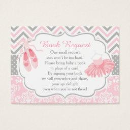 Pink and Gray Chevron Ballerina Baby Book Request