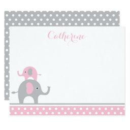 Pink and Gray Elephant Thank You