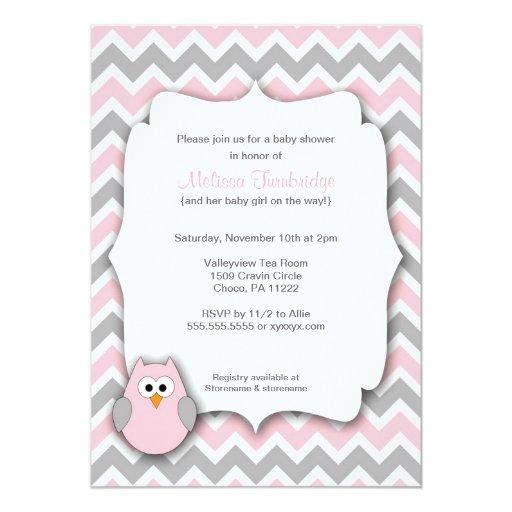 Pink and Gray Owl Chevron