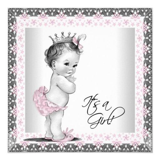 Baby shower pink and gray vintage baby girl shower card